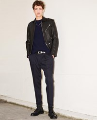 The Kooples Midnight Blue Slim Fit Trousers With Chain