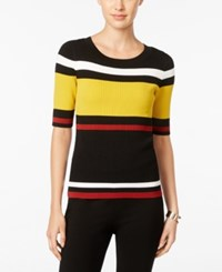 Inc International Concepts Petite Striped Sweater Only At Macy's Black Color Combo
