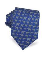 Laura Biagiotti Elephants Print Silk Narrow Tie Navy