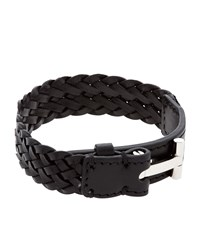 Tom Ford Woven T Leather Bracelet Unisex Black