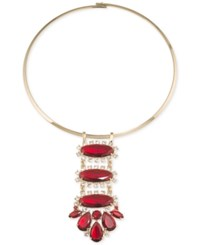 Carolee Gold Tone Large Red Stone Statement Necklace