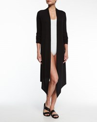 Marie France Van Damme Michi Open Front Midi Cardigan Black