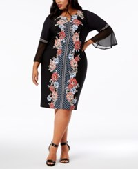 Jm Collection Plus And Petite Plus Size Printed Flare Sleeve Dress Verdant