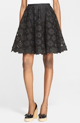 Red Valentino Embroidered Silk Organza A Line Skirt Nero