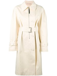 Marni Belted Trench Coat Women Cotton Linen Flax Acetate Viscose 38 Nude Neutrals