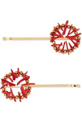 Rosantica Set Of Two Gold Tone And Resin Hair Slides One Size