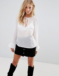 Wyldr Constallation Dot Blouse With Neck Tie Ivory Cream