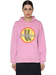 J.W.Anderson Printed Hooded Cotton Jersey Sweatshirt Pink