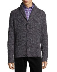Neiman Marcus Shawl Collar Chunky Cable Knit Cashmere Cardigan Gray