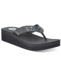 Yellow Box Africa Rhinestone Platform Wedge Thong Sandals Women's Shoes Grey