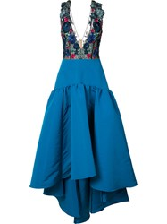Marchesa Notte Floral Embroidery And Applique Dress Women Polyester 0 Blue