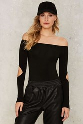 Cut It Fine Off The Shoulder Bodysuit Black