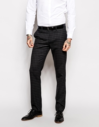 Sisley Slim Fit Suit Trousers In Check Charcoalcheck
