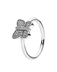 Pandora Design Pandora Ring Sterling Silver And Cubic Zirconia Sparkling Butterfly