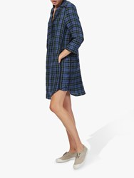 Brora Plaid Check Shirt Dress Chambray Fennel