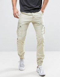 Solid Cuffed Cargo Trousers With Belt Stone