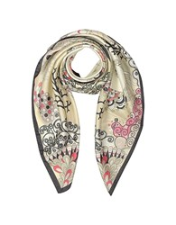 Mila Schon Seahorses And Coral Reefs Print Twill Silk Square Scarf Beige