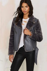 Nasty Gal J.O.A. Long Fur Vegan Leather Jacket