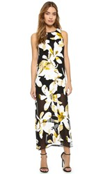 Alice Olivia Lucia Embellished Racer Back High Slit Dress Black Multi
