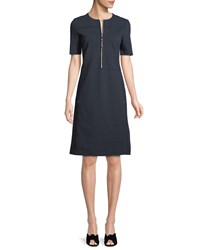 Lafayette 148 New York Demi Punto Milano Zip Up Dress Ink