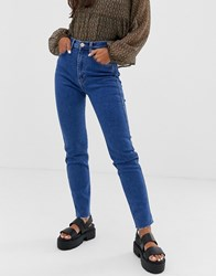 Pull And Bear Slim Mom Stretch Jeans In Dark Blue Blue