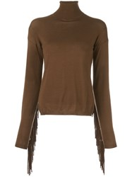 P.A.R.O.S.H. Fringed Back 'Loris' Sweater Brown