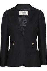 Valentino Wool And Silk Blend Blazer Blue