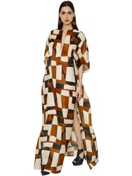 Akris Printed Organza Caftan Dress