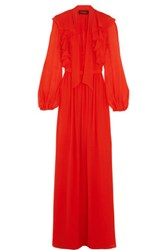 Giambattista Valli Ruffled Silk Georgette Gown Orange
