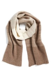 Halogen Degrade Stripe Cashmere Muffler Brown