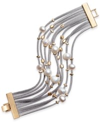 Inc International Concepts Gold Tone Layered Mixed Media Bracelet Only At Macy's Grey
