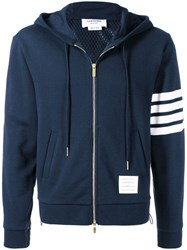 Thom Browne 4 Bar Half And Half Hoodie Blue
