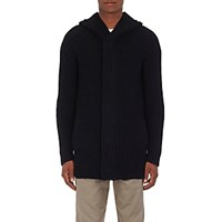 Helmut Lang Men's Ribbed Wool Blend Hooded Cardigan Blue