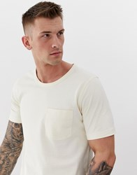 Selected Homme Boxy Fit Chest Pocket T Shirt In Organic Cotton White