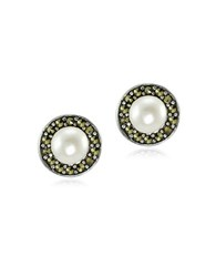 Lord And Taylor Marcasite Round Freshwater Pearl Halo Sterling Silver Stud Earrings