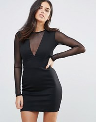 Oh My Love Mesh Sleeve Open Back Mini Dress Black