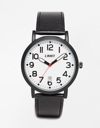 Limit Leather Watch With Date Black