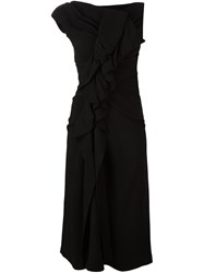 Plein Sud Jeans Ruffled Asymmetric Dress Black