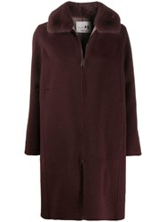Manzoni 24 Cashmere Coat With Mink Collar Purple