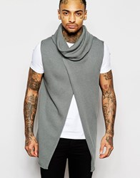 Asos Sleeveless Jumper With Cowl Neck And Wrap Front Grey
