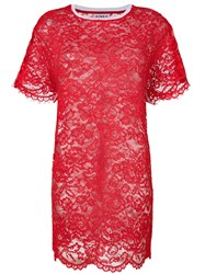 Ainea Lace T Shirt Dress Red