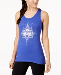 Gaiam Fiona Graphic Keyhole Back Tank Top Royal Blue