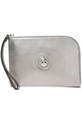 Versus By Versace Woman Embellished Leather Pouch Silver