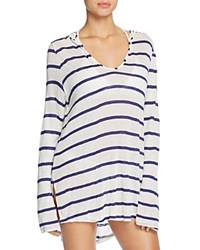 Splendid Stitch Stripe Hooded Tunic Swim Cover Up Navy
