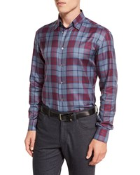 Brioni Tartan Plaid Long Sleeve Sport Shirt Red Blue