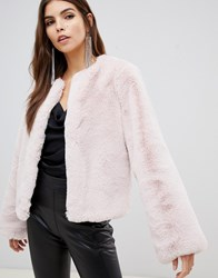 Lipsy Fluffy Faux Fur Jacket In Pink Pink Pink
