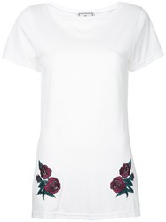 Maison Mihara Yasuhiro Flower Embroidered Long T Shirt Women Cotton 36 White