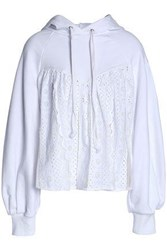 Sea Broderie Anglaise And Tulle Paneled French Cotton Terry Hooded Sweatshirt White