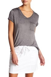 Cable And Gauge Washed V Neck Short Sleeve Tee Petite Gray