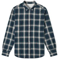 Officine Generale Button Down Textured Plaid Shirt Blue